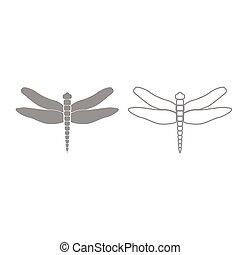 Dragonfly grey set icon .