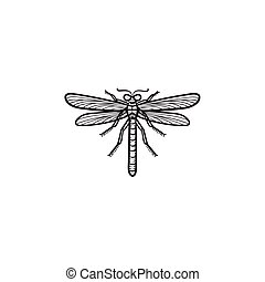 Dragonfly hand drawn sketch icon.