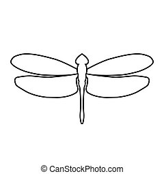 Dragonfly icon. Isolated black outline on a white background. The symbol for logo design. Stock vector illustration.