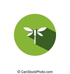 Dragonfly. Icon on a green circle. Animal vector illustration