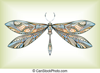 Illustration of abstract design dragonfly.