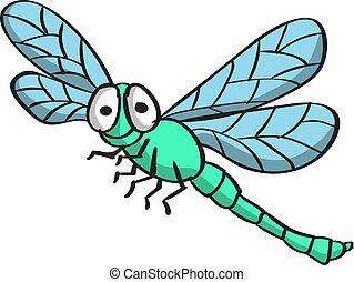Dragonfly, illustration, vector on white background.