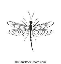 Dragonfly in flight - Vector illustration of a dragonfly on...