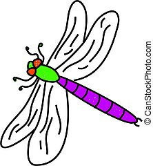 dragonfly insect isolated on white drawn in toddler art...