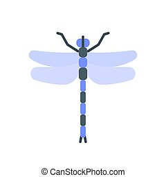 Dragonfly insect wing single flat vector icon