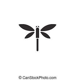 Dragonfly. Isolated icon. Glyph vector illustration