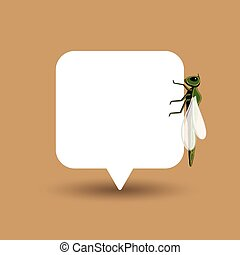 Dragonfly Isolated on Speech Banner Vector Illustration