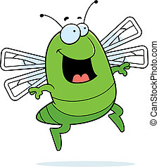 Dragonfly Jumping - A happy cartoon dragonfly jumping and...