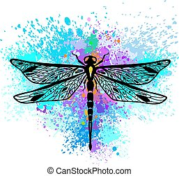 Dragonfly on colorful background of paint splashes
