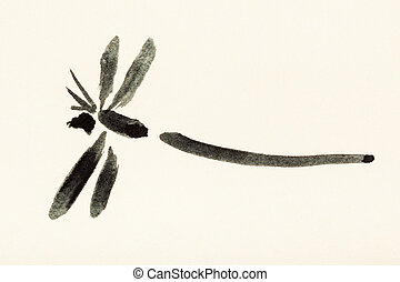dragonfly painted on cream colored paper - training drawing...