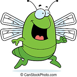 Dragonfly Running - A happy cartoon dragonfly running and...