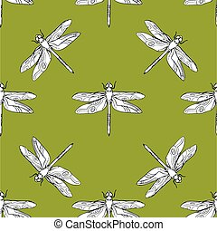 Dragonfly seamless pattern vector hand drawn illustration