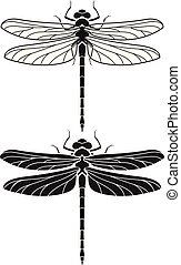 Dragonfly silhouette icons set. Vector Illustrations.
