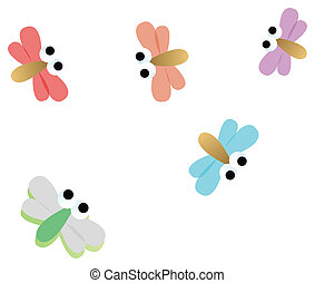 dragonfly - illustration of color dragonfly in a white...