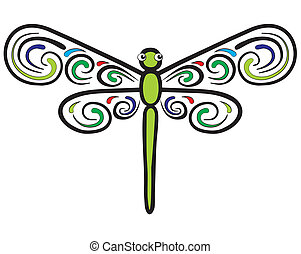 Represent a green dragonfly which have colorful wings. Well layered vector .ai10 file.