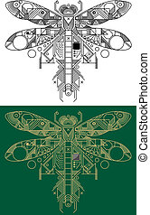 Dragonfly with computer motherboard elements for technology concept