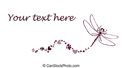 Dragonfly with hearts - Original illustration clip art of a...