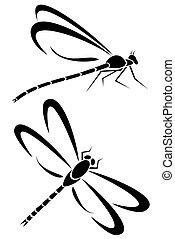 Dragonflys - Two dragonfly tribal tattoos