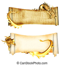 Dragons and scrolls of old parchments. Object isolated over...