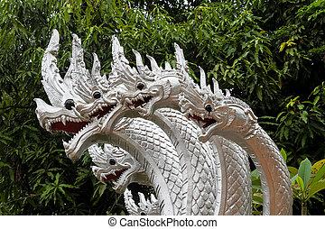 Dragons at Wat Pha Mahathat temple in Luang Prabang, Laos