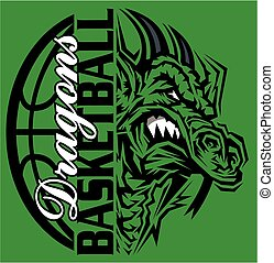 dragons basketball team design with ball and mascot for...