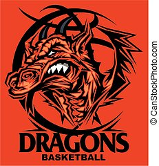 dragons basketball team design with mascot inside ball for...
