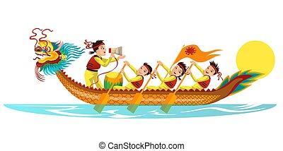 Dragons boat flat colorful banner vector illustration