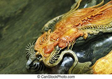dragon's, cabeza, escultura