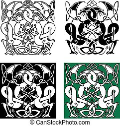 Dragons entwined in traditional celtic knot ornaments