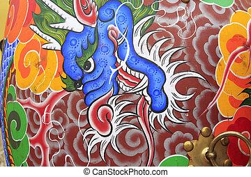 dragon's, fej, festmény