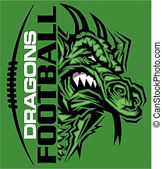 dragons football team design with mascot and laces for...
