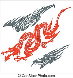 Dragons for tattoo. Vector set. - Vector dragons for tattoo....