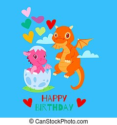 Dragons happy birthday card, banner vector illustration. Cartoon funny little dragons with wings. Fairy dinosaurs flying near baby character hatching from egg. Lovely hearts.
