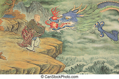 Dragon's head on a temple painting located in Korea.