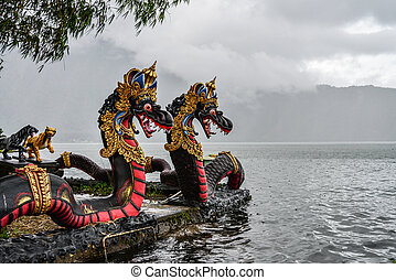 Dragons in Pura Ulun Danu Beratan