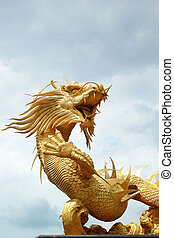 Dragons in the temple with sky