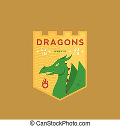 Dragons Medeival Sports Team Emblem. Abstract Vector Sign, Symbol or Logo Template. Mythical Reptile in a Shield with Retro Typography.