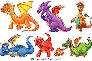Dragons set on a white background