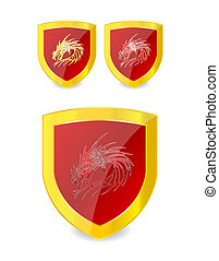 dragons set on the emblem gold and red color