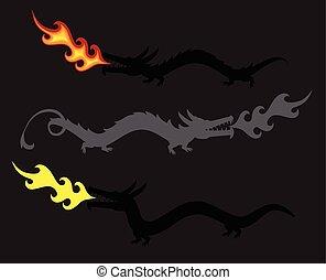 Dragons Spitting Fire Vector Illustration