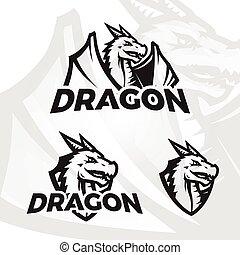 Dragons sport mascot. College league insignia, Dragon school team vector illustration