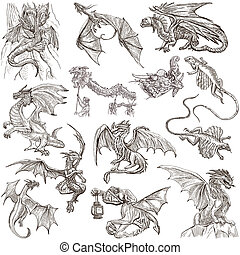 dragons., um, mão, desenhado, freehand, sketches.,...