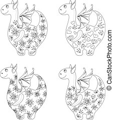 Dragons with patterns, contours