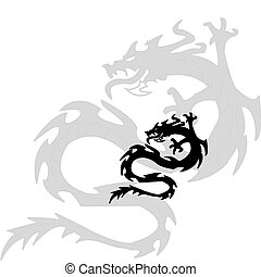 dragon.vector, silhouette, nero