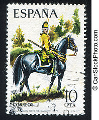 Dragoon Sagunto Regiment - SPAIN - CIRCA 1975: stamp printed...