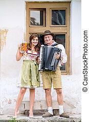 dragspel, par, traditionell, öl, bayersk, kläder