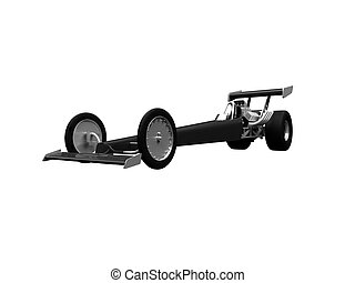 Dragster isolated front view 02 - isolated dragster on white...