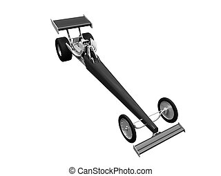 Dragster isolated front view 03 - isolated dragster on white...