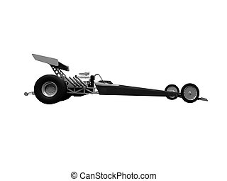 Dragster isolated side view - isolated dragster on white...