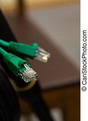 draht, kabel, plastik, verbinder, rj45, edv, grün, kontakt, hintergrund, design, blurry